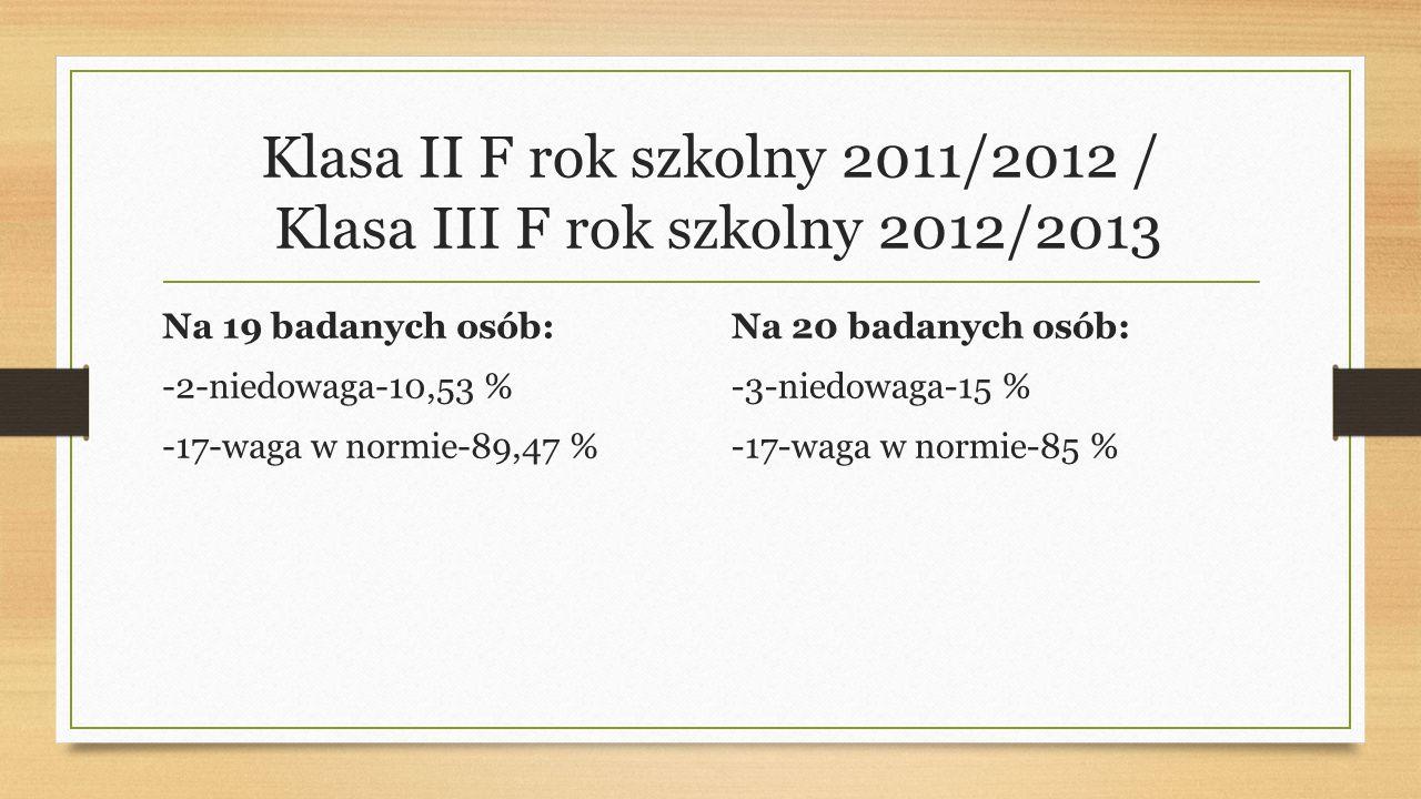 Klasa II F rok szkolny 2011/2012 / Klasa III F rok szkolny 2012/2013