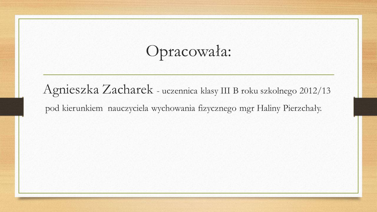 Opracowała: Agnieszka Zacharek - uczennica klasy III B roku szkolnego 2012/13.