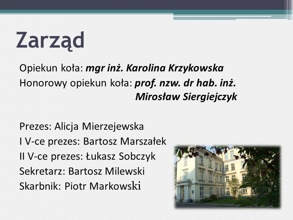 Zarząd Opiekun koła: mgr inż. Karolina Krzykowska