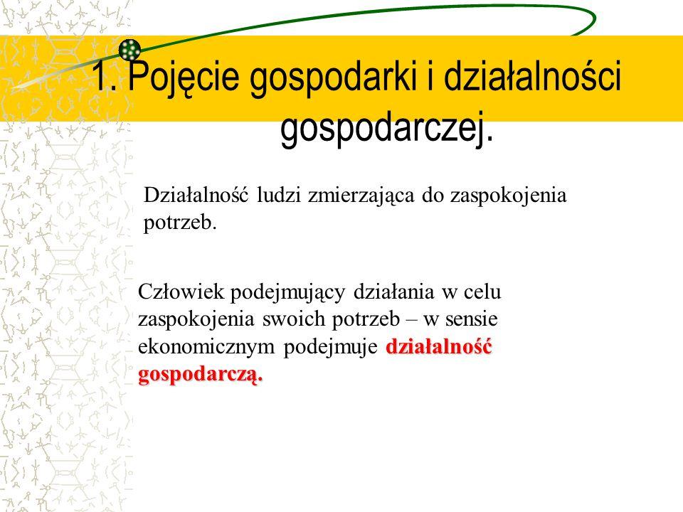 1. Pojęcie gospodarki i działalności gospodarczej.