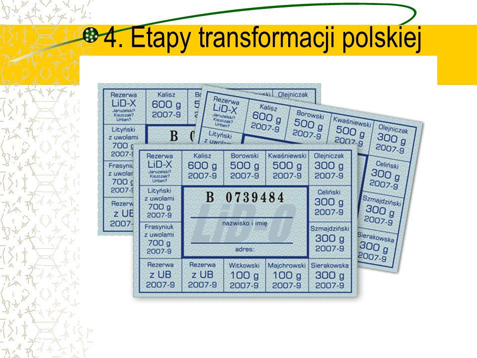 4. Etapy transformacji polskiej gospodarki.
