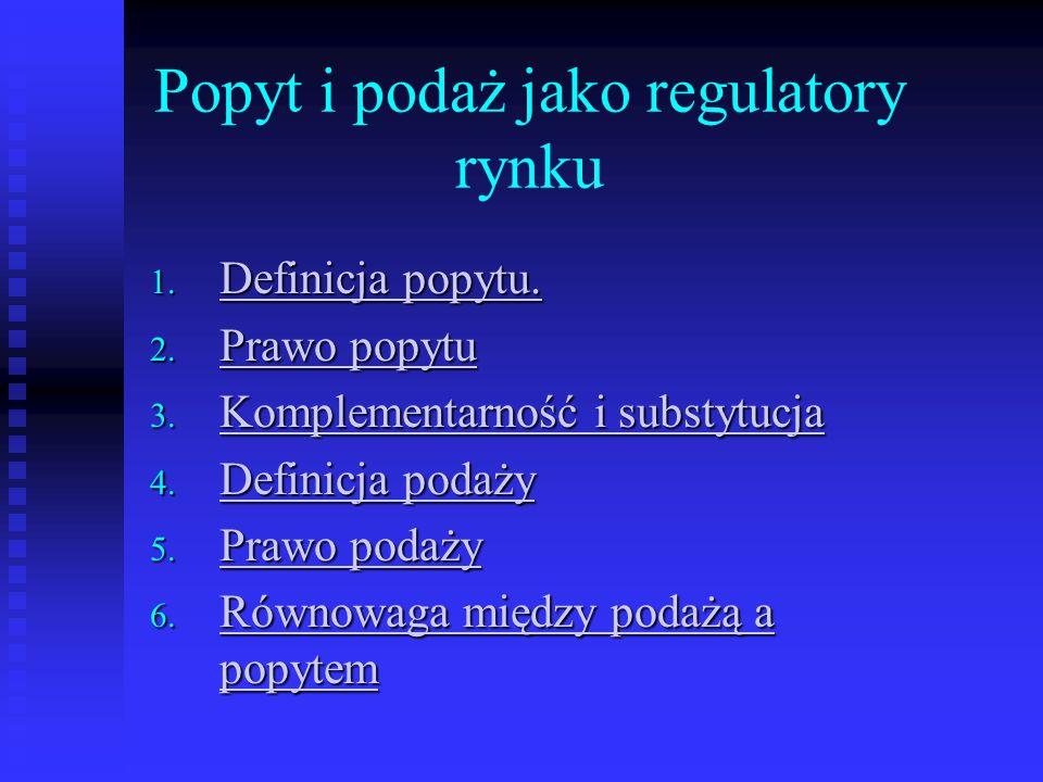 Popyt i podaż jako regulatory rynku
