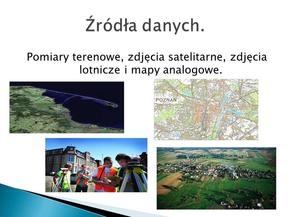 Źródła danych. Pomiary terenowe, zdjęcia satelitarne, zdjęcia lotnicze i mapy analogowe.