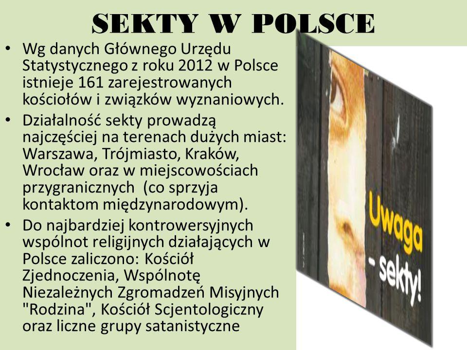SEKTY W POLSCE Wg danych Głównego Urzędu Statystycznego z roku 2012 w Polsce istnieje 161 zarejestrowanych kościołów i związków wyznaniowych.