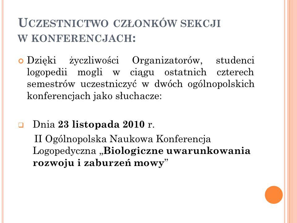 Uczestnictwo członków sekcji w konferencjach: