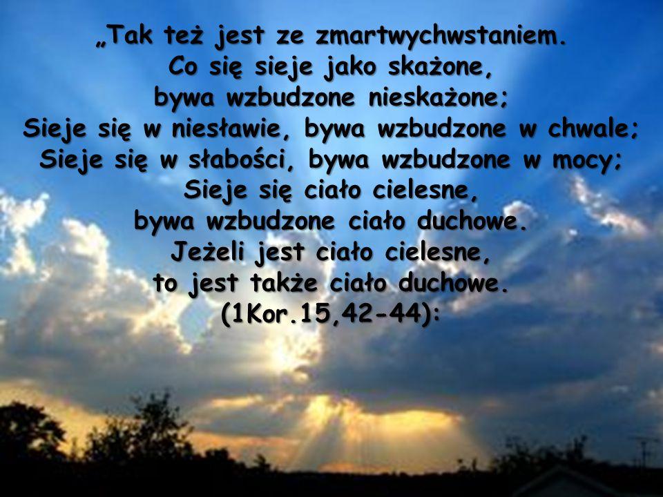 """""""Tak też jest ze zmartwychwstaniem. Co się sieje jako skażone,"""