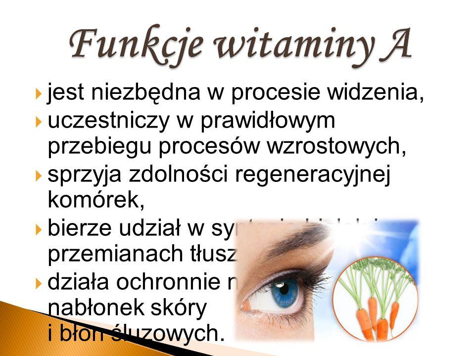Funkcje witaminy A jest niezbędna w procesie widzenia,