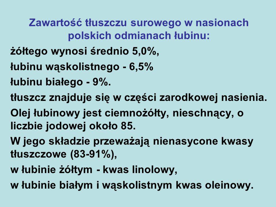 Zawartość tłuszczu surowego w nasionach polskich odmianach łubinu: