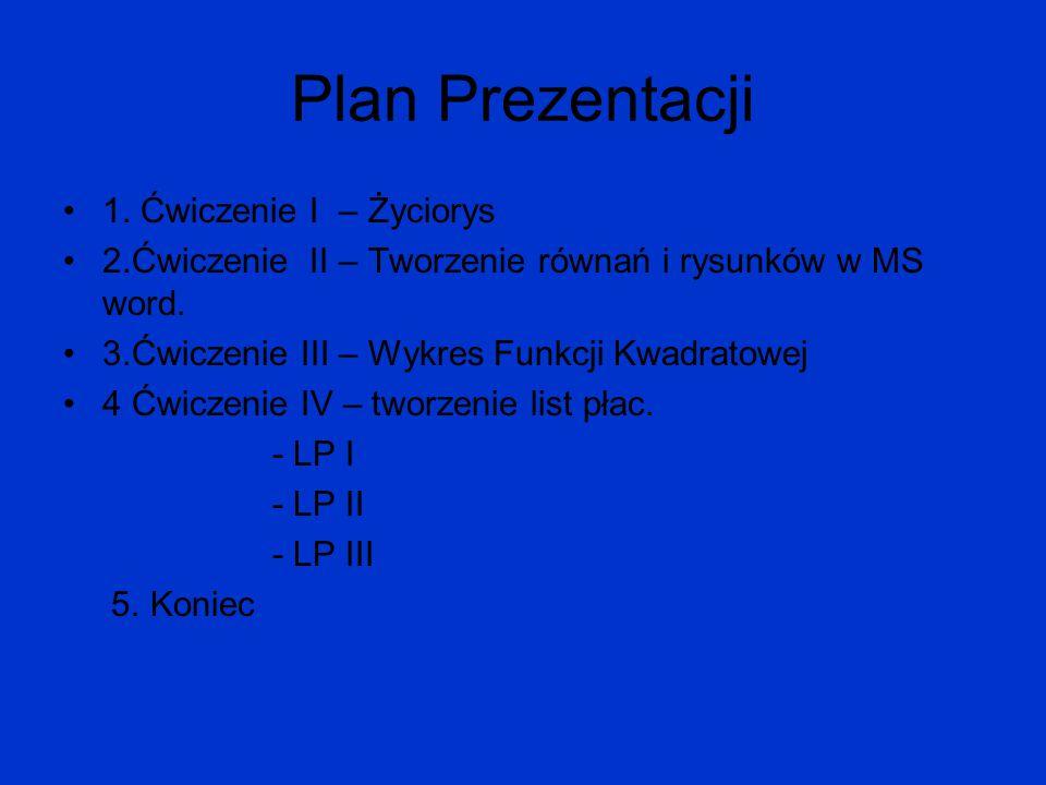 Plan Prezentacji 1. Ćwiczenie I – Życiorys