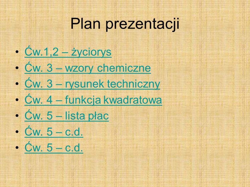 Plan prezentacji Ćw.1,2 – życiorys Ćw. 3 – wzory chemiczne