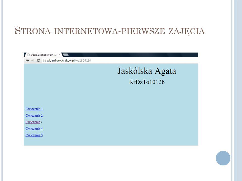 Strona internetowa-pierwsze zajęcia
