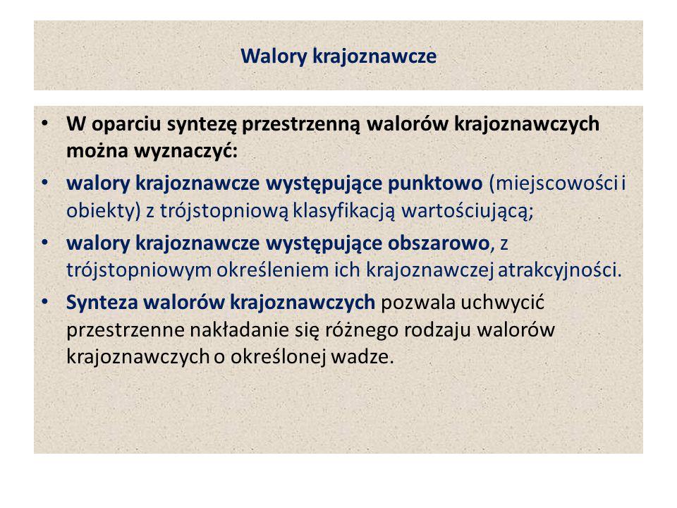 Walory krajoznawcze W oparciu syntezę przestrzenną walorów krajoznawczych można wyznaczyć:
