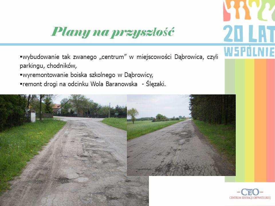 """Plany na przyszłość wybudowanie tak zwanego """"centrum w miejscowości Dąbrowica, czyli parkingu, chodników,"""