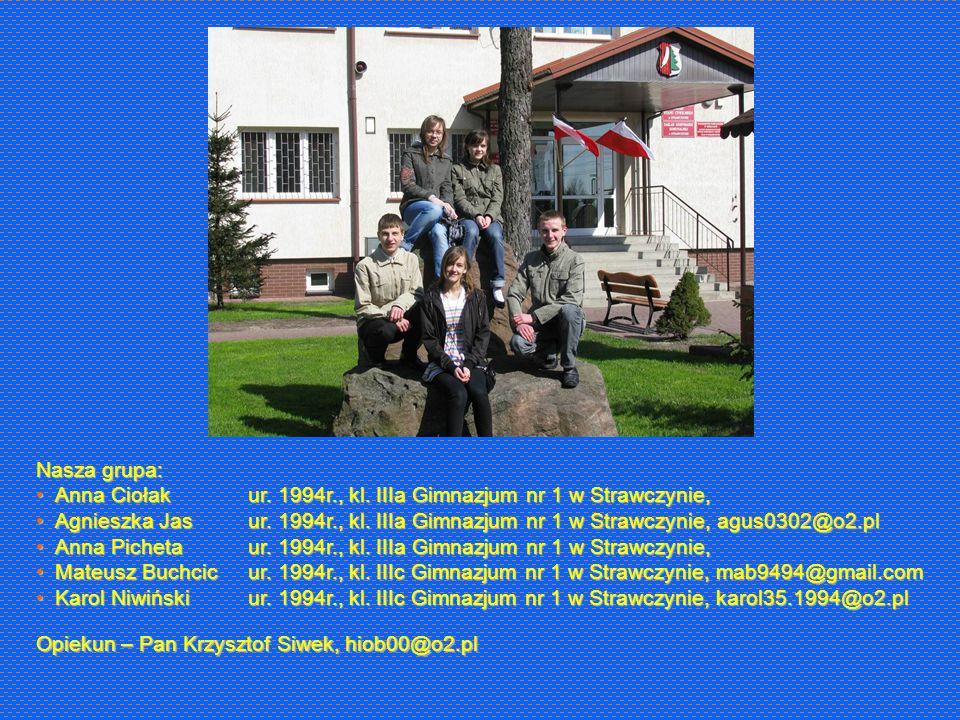 Nasza grupa: Anna Ciołak. Agnieszka Jas. Anna Picheta. Mateusz Buchcic. Karol Niwiński. ur. 1994r., kl. IIIa Gimnazjum nr 1 w Strawczynie,