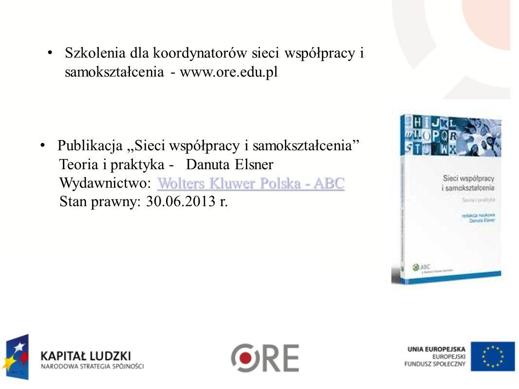 Szkolenia dla koordynatorów sieci współpracy i samokształcenia - www