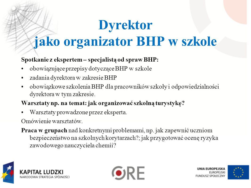 Dyrektor jako organizator BHP w szkole