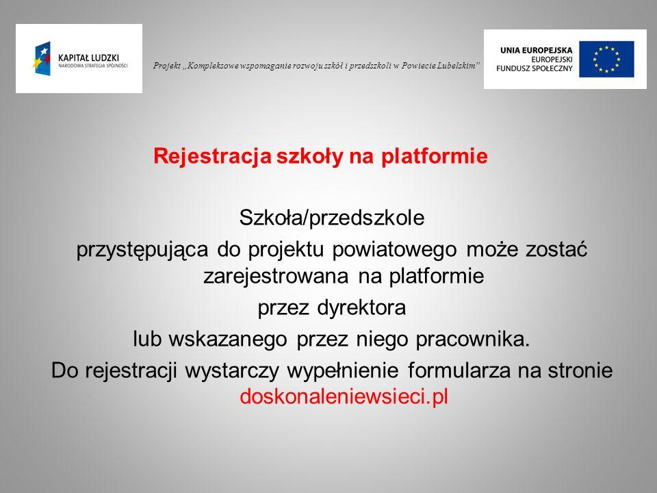Rejestracja szkoły na platformie