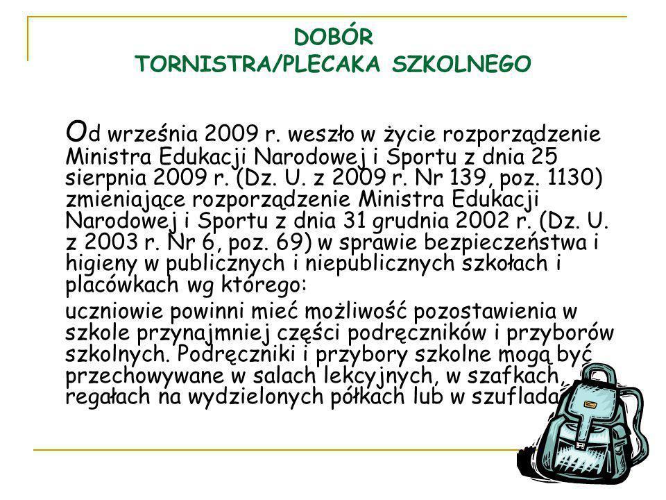 DOBÓR TORNISTRA/PLECAKA SZKOLNEGO