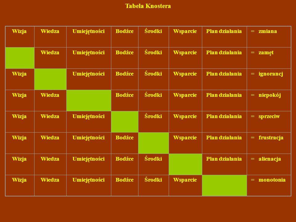 Tabela Knostera Wizja Wiedza Umiejętności Bodźce Środki Wsparcie