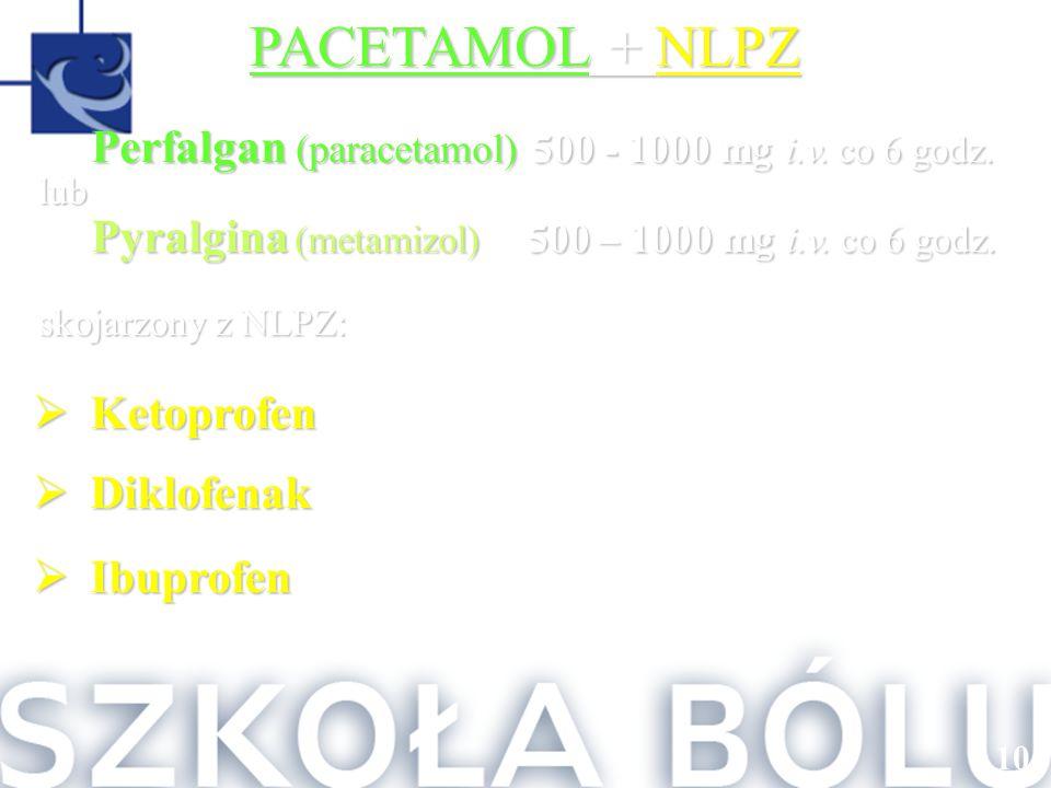 PACETAMOL + NLPZ Perfalgan (paracetamol) 500 - 1000 mg i.v. co 6 godz.