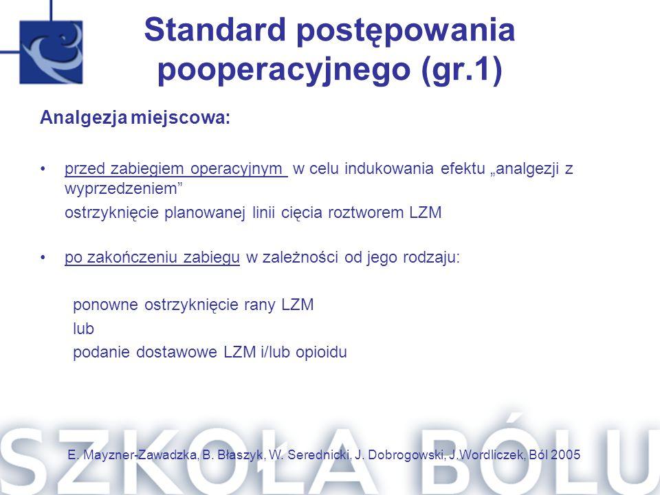 Standard postępowania pooperacyjnego (gr.1)