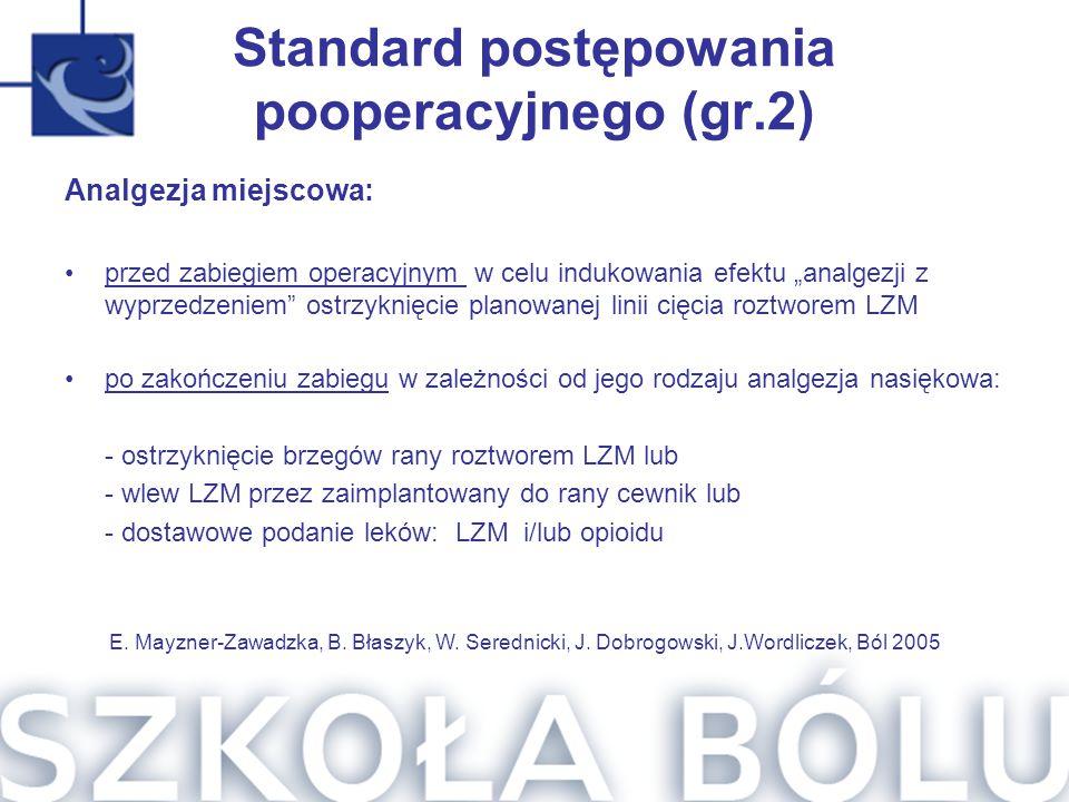 Standard postępowania pooperacyjnego (gr.2)