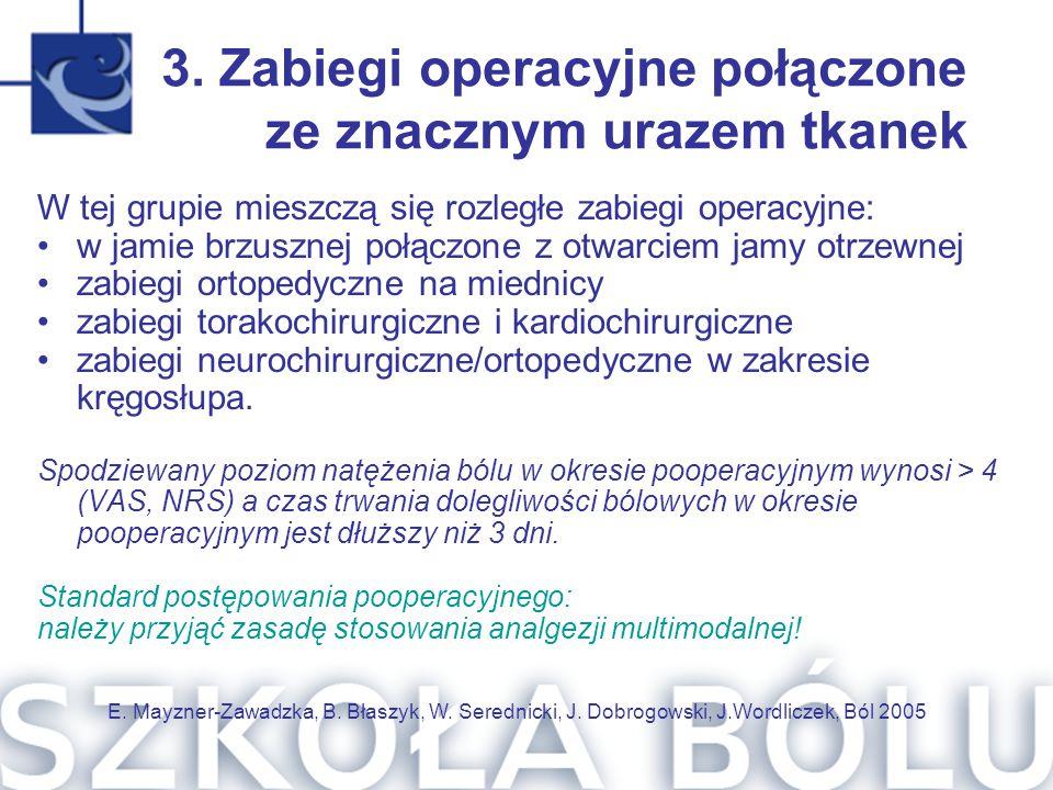 3. Zabiegi operacyjne połączone ze znacznym urazem tkanek