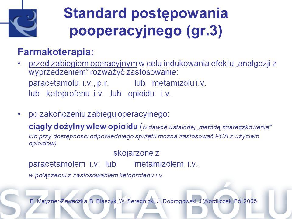 Standard postępowania pooperacyjnego (gr.3)