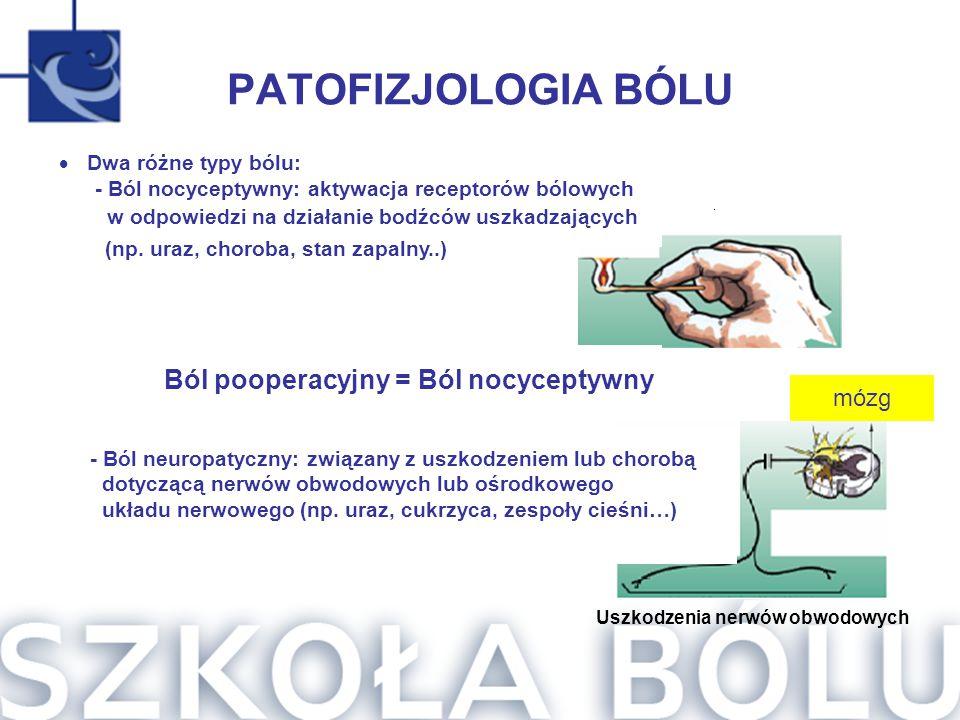 Ból pooperacyjny = Ból nocyceptywny Uszkodzenia nerwów obwodowych