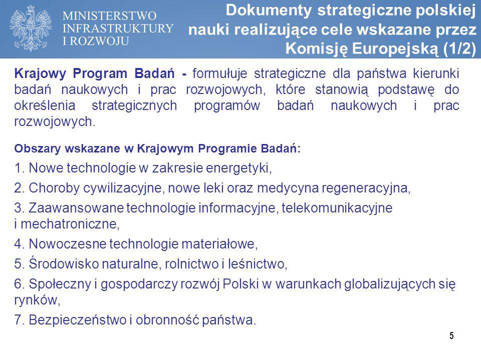 Dokumenty strategiczne polskiej nauki realizujące cele wskazane przez Komisję Europejską (1/2)