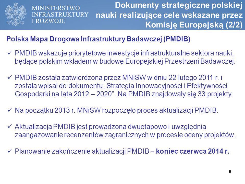Dokumenty strategiczne polskiej nauki realizujące cele wskazane przez Komisję Europejską (2/2)