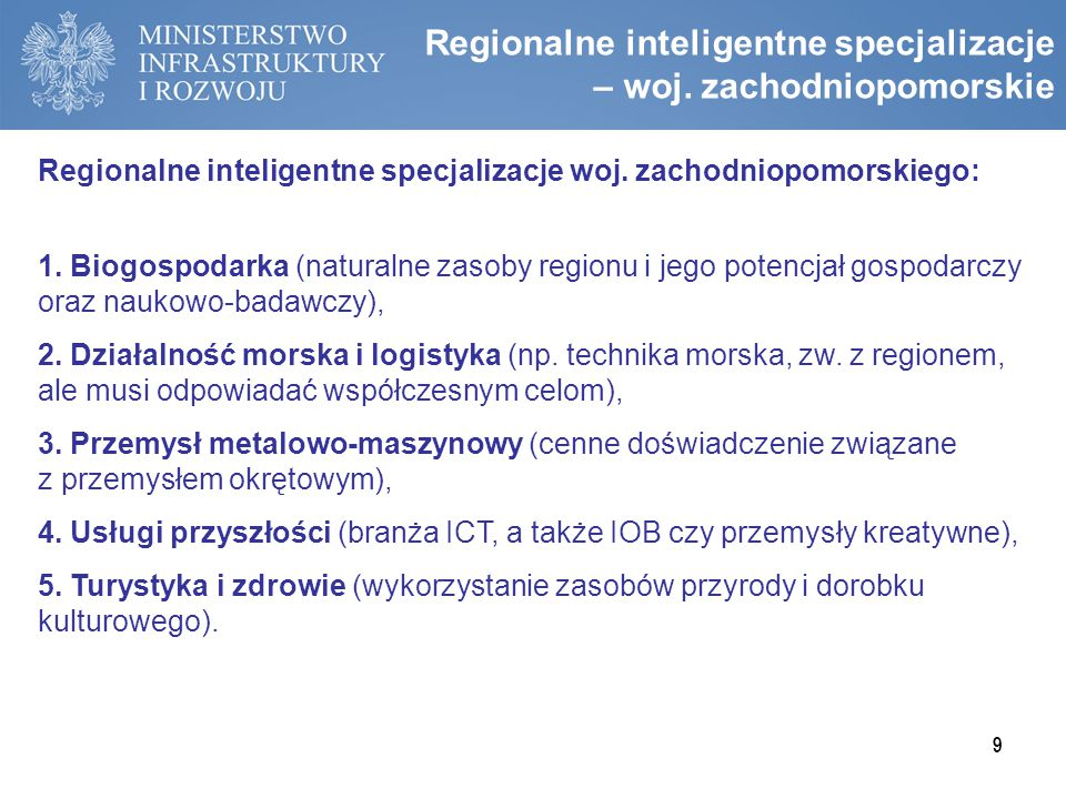 Regionalne inteligentne specjalizacje – woj. zachodniopomorskie