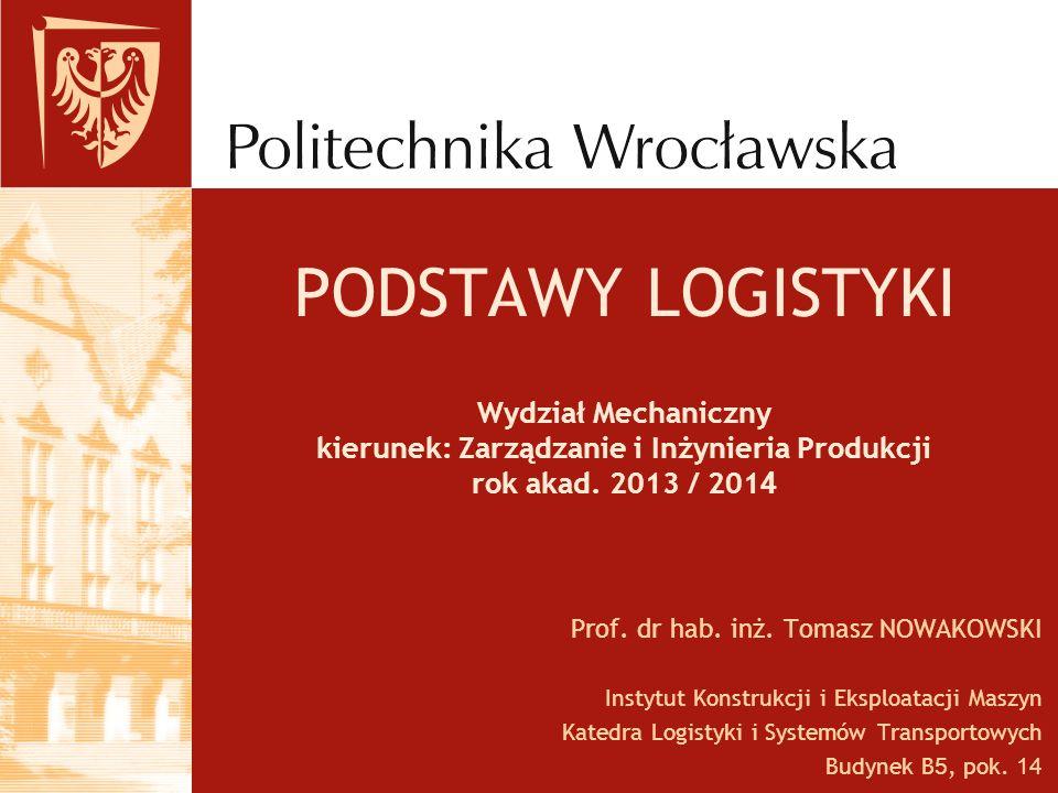 PODSTAWY LOGISTYKI Wydział Mechaniczny kierunek: Zarządzanie i Inżynieria Produkcji rok akad. 2013 / 2014