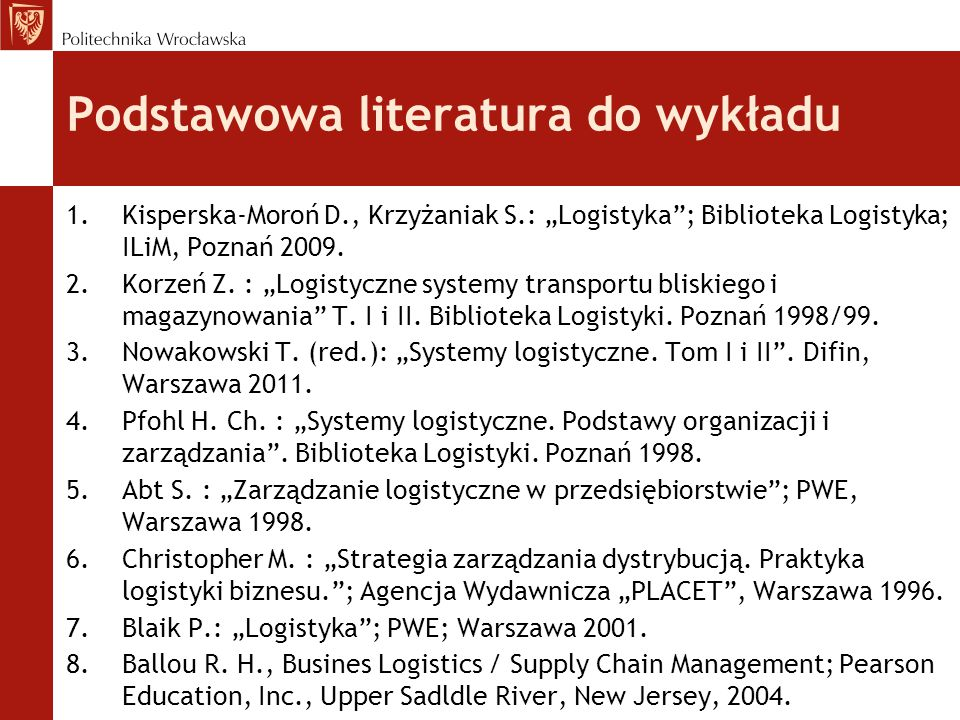 Podstawowa literatura do wykładu