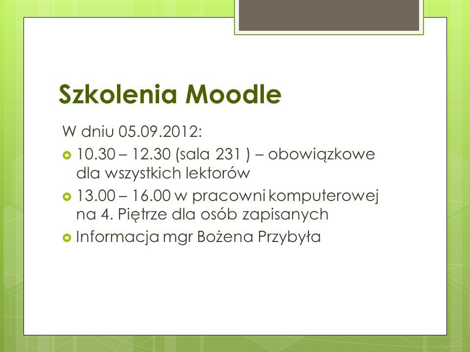 Szkolenia Moodle W dniu 05.09.2012: