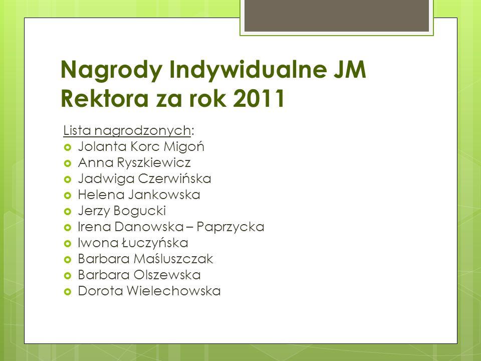 Nagrody Indywidualne JM Rektora za rok 2011