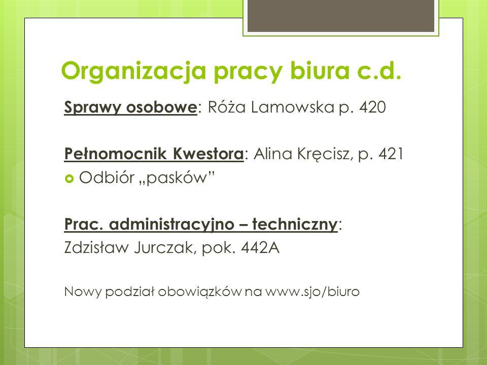 Organizacja pracy biura c.d.