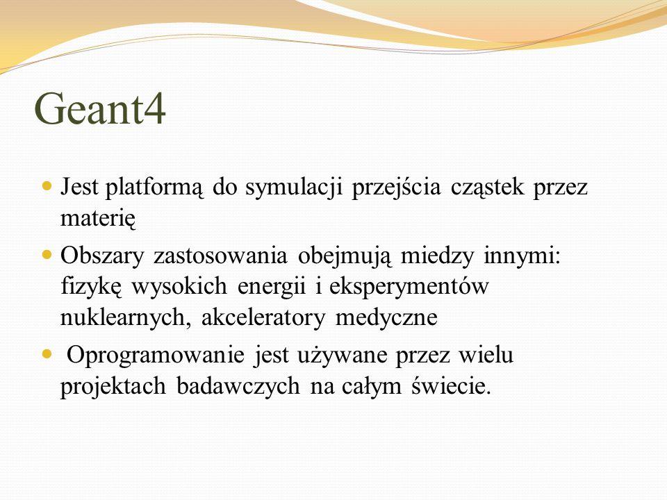 Geant4 Jest platformą do symulacji przejścia cząstek przez materię