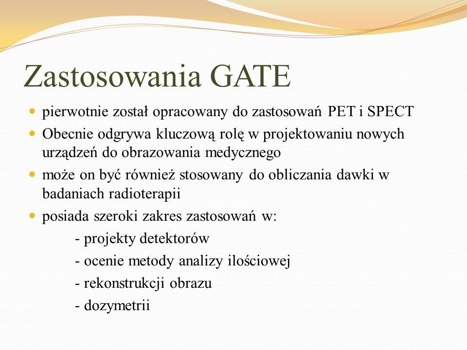 Zastosowania GATE pierwotnie został opracowany do zastosowań PET i SPECT.