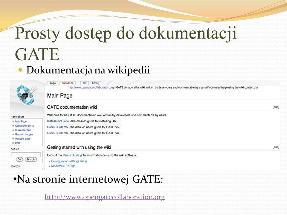 Prosty dostęp do dokumentacji GATE