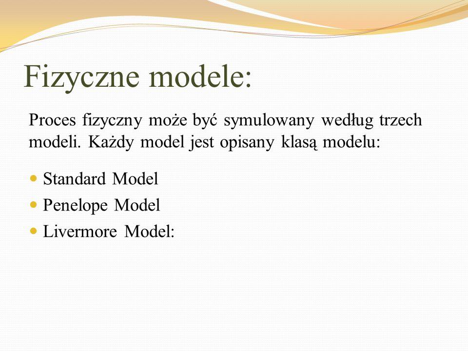 Fizyczne modele: Proces fizyczny może być symulowany według trzech modeli. Każdy model jest opisany klasą modelu: