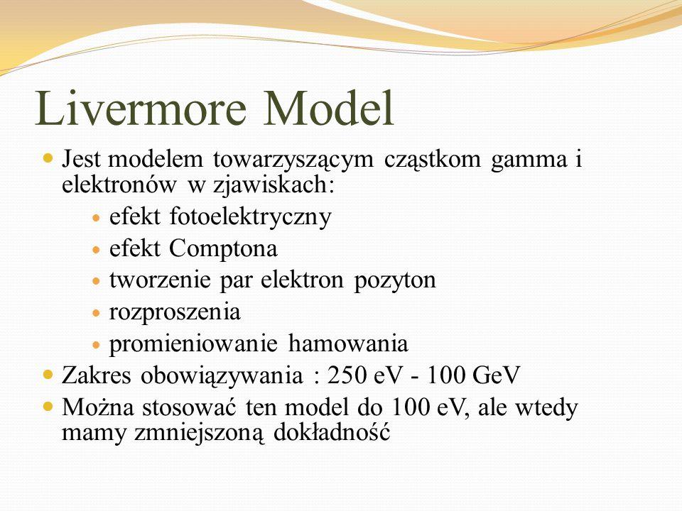 Livermore Model Jest modelem towarzyszącym cząstkom gamma i elektronów w zjawiskach: efekt fotoelektryczny.