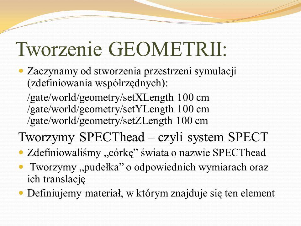 Tworzenie GEOMETRII: Tworzymy SPECThead – czyli system SPECT