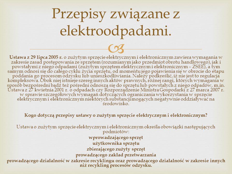 Przepisy związane z elektroodpadami.