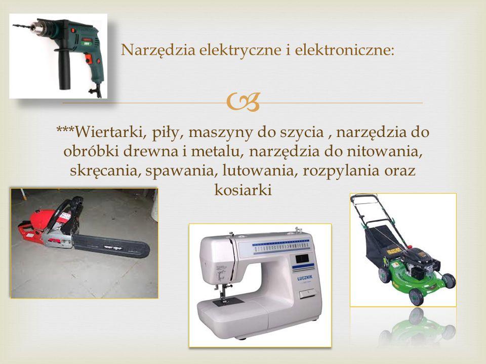 Narzędzia elektryczne i elektroniczne: