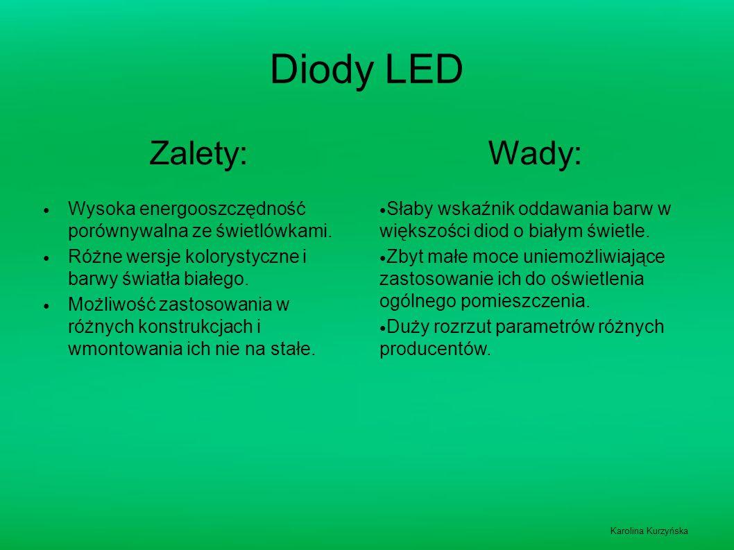 Diody LED Zalety: Wady: