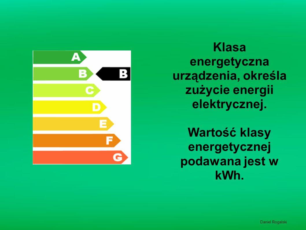 Klasa energetyczna urządzenia, określa zużycie energii elektrycznej.