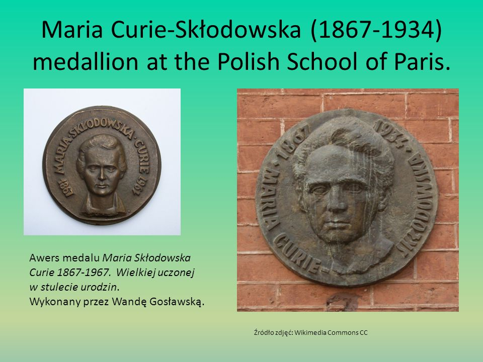 Maria Curie-Skłodowska (1867-1934) medallion at the Polish School of Paris.