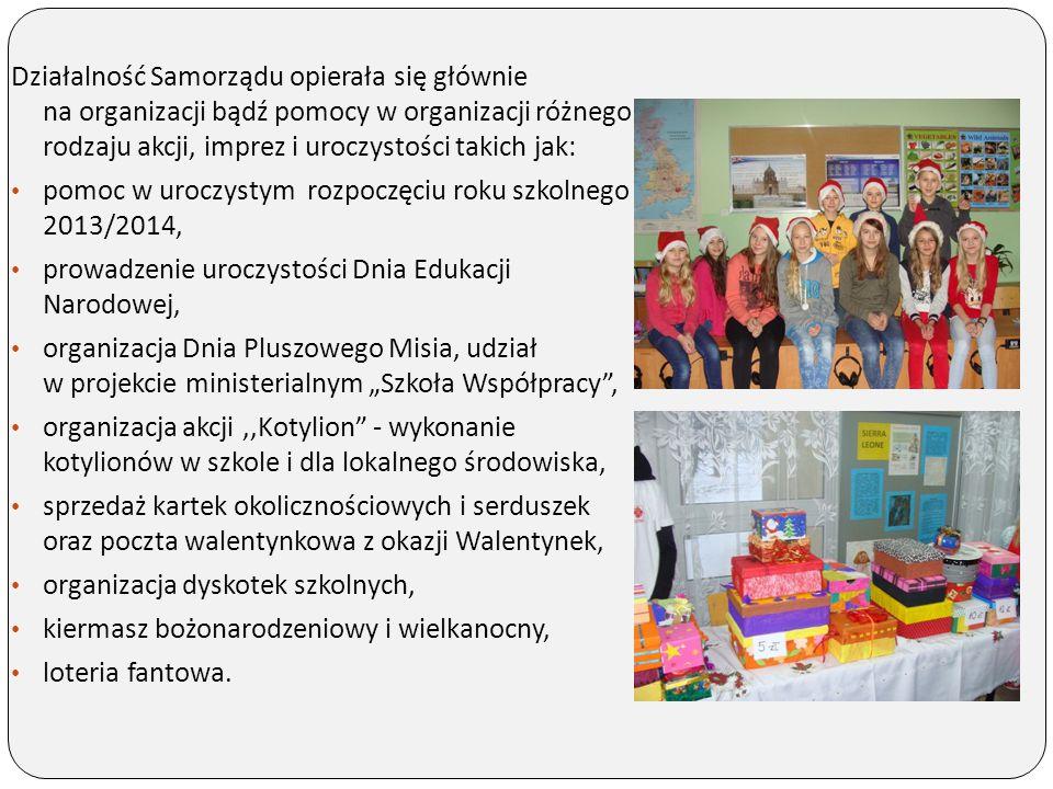 Działalność Samorządu opierała się głównie na organizacji bądź pomocy w organizacji różnego rodzaju akcji, imprez i uroczystości takich jak: