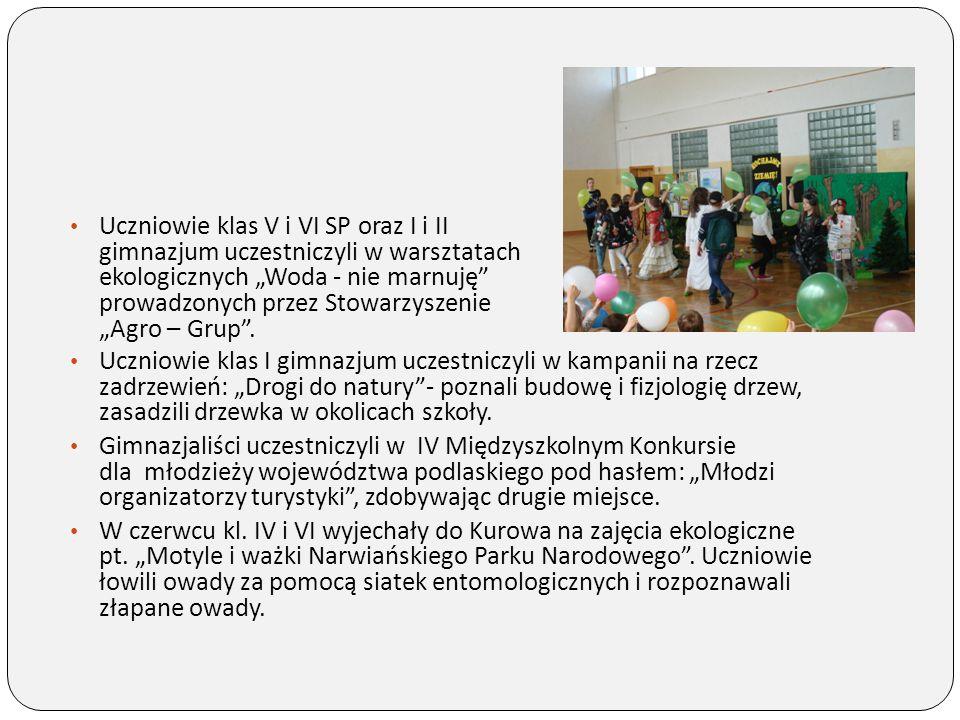 """Uczniowie klas V i VI SP oraz I i II gimnazjum uczestniczyli w warsztatach ekologicznych """"Woda - nie marnuję prowadzonych przez Stowarzyszenie """"Agro – Grup ."""